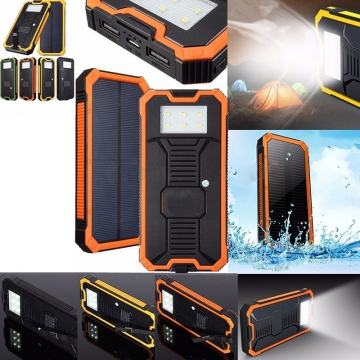 20000mAh Dual USB Power Bank Portable Solar Waterproof External Battery Charger Black 20000mAh