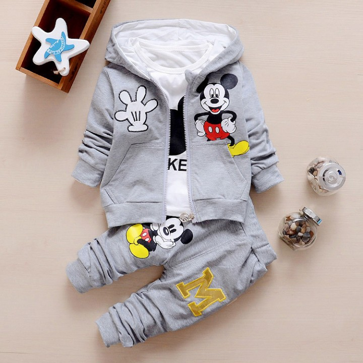 Spring/Autumn Baby kids Clothing three-piece cotton children's clothing set Gray 110
