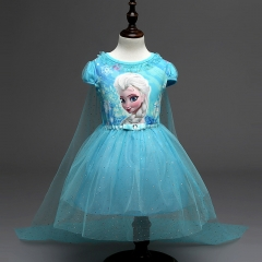 Lace Sequins Princess Halloween Party Role-play Costume Girl Dress Summer Brand Toddler Blue 140cm