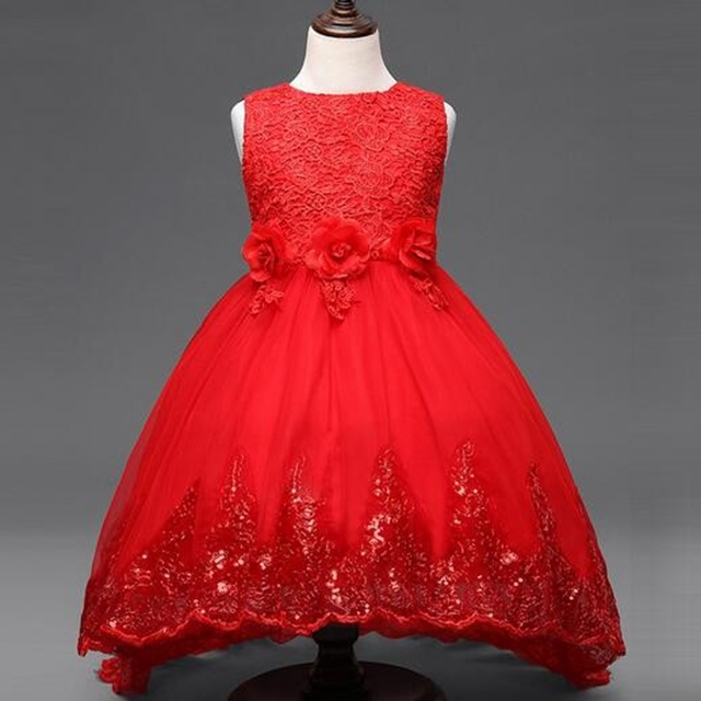 46bfb0db949b Princess Flower Girl Dress For Wedding Party Bridesmaid Kids Bow Sleeveless  Trailing Lace Tulle Red 160cm