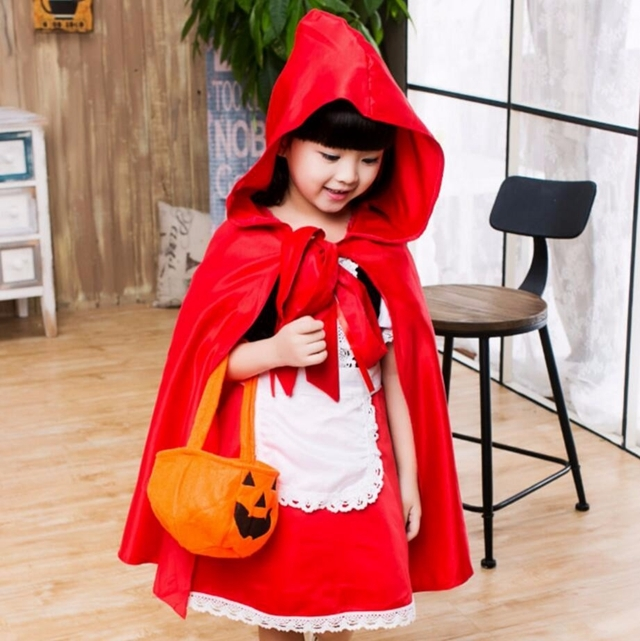 Cute Little Red Riding Hood Costume Girl Halloween Clothing