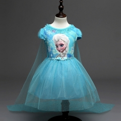 Lace Sequins Princess Halloween Party Role-play Costume Girl Dress Summer Brand Toddler blue 110cm