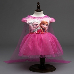Lace Sequins Princess Halloween Party Role-play Costume Girl Dress Summer Brand Toddler pink 100cm