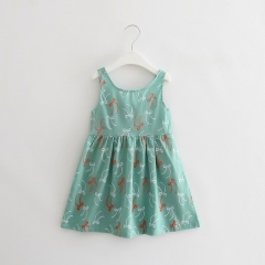 Summer girl dress Print pattern Children tutu dresses for girls baby girl clothes Sleeveless dresses Green 90cm