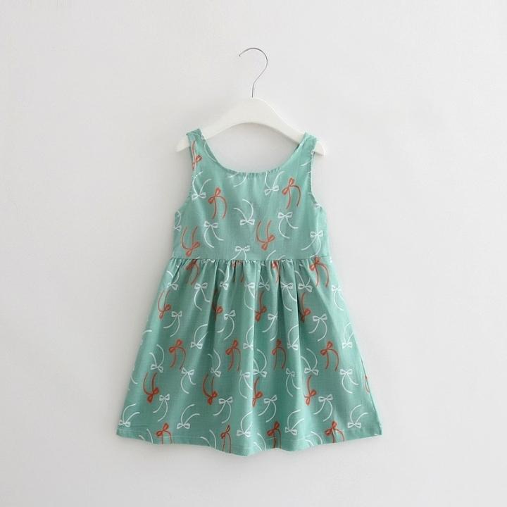 Summer girl dress Print pattern Children tutu dresses for girls baby girl clothes Sleeveless dresses Green 90cm