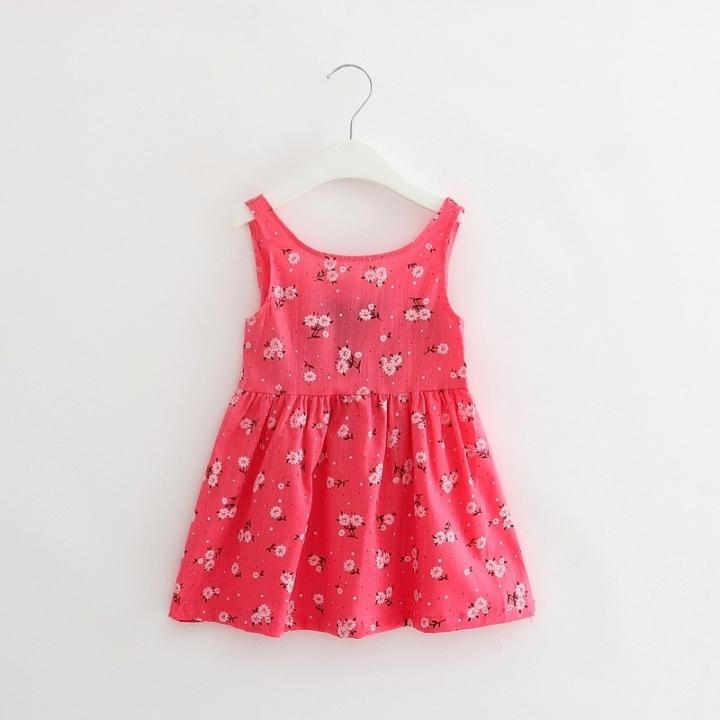 Summer girl dress Print pattern Children tutu dresses for girls baby girl clothes Sleeveless dresses Red 100cm