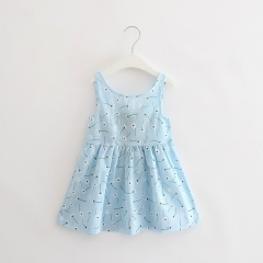 Summer girl dress Print pattern Children tutu dresses for girls baby girl clothes Sleeveless dresses SkyBlue 90cm