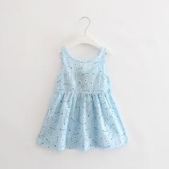 Summer girl dress Print pattern Children tutu dresses for girls baby girl clothes Sleeveless dresses SkyBlue 90cm