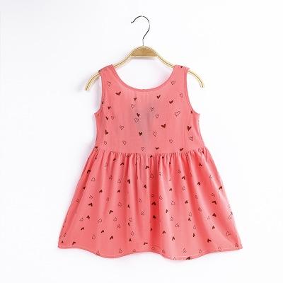 Summer girl dress Print pattern Children tutu dresses for girls baby girl clothes Sleeveless dresses HeartRed 120cm