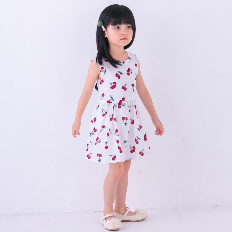 45d4fb3235f8 Baby Girl Dress Summer Kids Teenagers Sleeveless Print Pattern ...