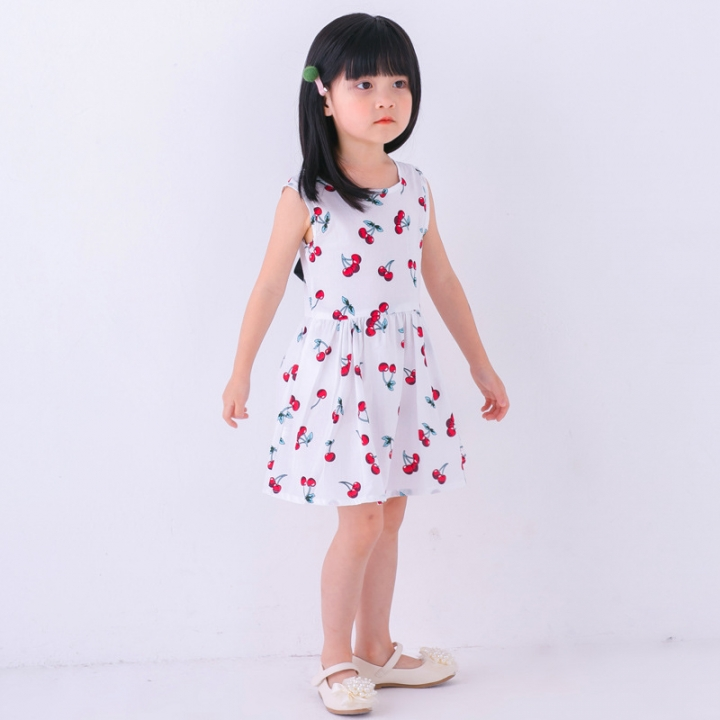 Baby Girl Dress Summer Kids Teenagers Sleeveless Print Pattern Cotton Dresses Clothes For Girls White 90cm