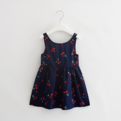 Baby Girl Dress Summer Kids Teenagers Sleeveless Print Pattern Cotton Dresses Clothes For Girls NavyBlue 90cm