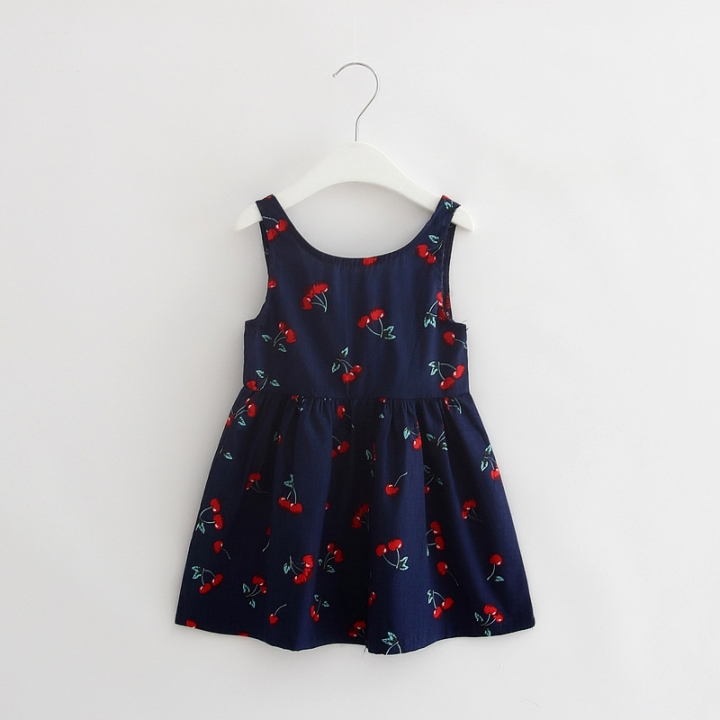 66ce4f97c009 Baby Girl Dress Summer Kids Teenagers Sleeveless Print Pattern Cotton Dresses  Clothes For Girls NavyBlue 170cm