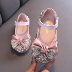 New Children Leather Shoes Rhinestone Bow Princess Girls Party Dance Shoes Baby Dress Shoes pink 31