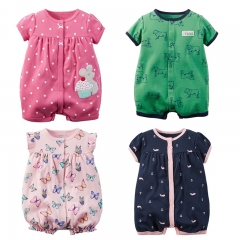 Carters Summer Newborn Baby Clothes Cotton Infant Romper Short Sleeve Baby Boys Baby Girls Clothing blue 6-9m