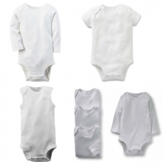 Newborn Baby Clothes White Cotton Infant Romper Long Sleeve Baby Boys/Girls Clothing White 6-9m