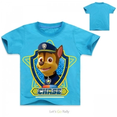 Fashion Baby Boy Cotton T-shirt White Children's Clothes For Boys Paw Patrol Short Sleeve Kid Tops blue 4T