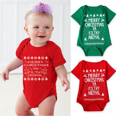 Christmas Newborn Baby Romper Cotton Infant Baby Clothes Short Sleeve Baby Boy Girl Romper Clothing red 70cm