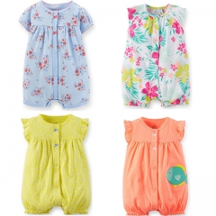 Summer Carters Cotton Newborn Baby Romper Sleeveless Baby Romper Jumpsuit Cute Baby Girl Clothing blue 0-6m
