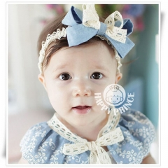 Fashion Baby Girls Lace Big Bow Hair Band Lacos Elastic Hair Accessories Baby Girl Clothes one color