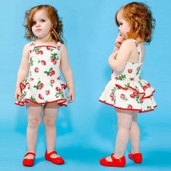 Summer Strawberry Printed Cotton Baby Princess Dress Sleeveless Girl Skirt Chlidren Clothing red 90cm