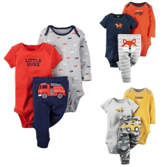 Carters Cotton Baby Boy Clothing Set Short Sleeve Newborn Baby Romper Jumpsuit 2PCS Romper + Pants Dark blue 0-6M