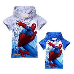 New Summer 2016 Boys T-shirt Kids Baby Tops Spiderman Short Sleeve Cartoon Children Clothing gray 130