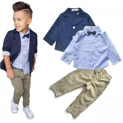 Children's Clothing Sets Baby Boy Suit Long Sleeve Shirts+Jacket +Kid Pants 3pcs Cotton Boy Suit Set one color 2T