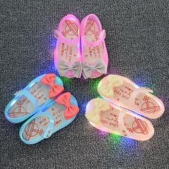 Melissa Fshion Soft Bottom Emitting Shoes Girl Princess Shoes Rubber Flat Heel Girl Sandals Pink 31 pink 27