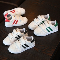 Fashion Adidas Leather Children Shoes Flat Heel  Boy Sports Shoes Breathable Girl Casual Brand Shoes red 23