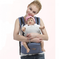 Ergonomic Multifunctional Ventilate Adjustable Buckle Design 100% Cotton Baby Carrier Backpack blue one size