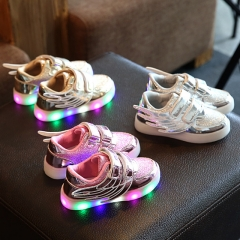 Fahison Athletic LED Light Up Children Shoes Breathable Baby Girl Wings Shoes Kid Sneakers gold 30