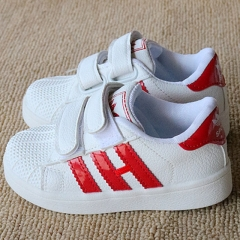 Fashion Adidas Leather Children Shoes Flat Heel Boy Sports Shoes Breathable Girl Casual Brand Shoes red 28