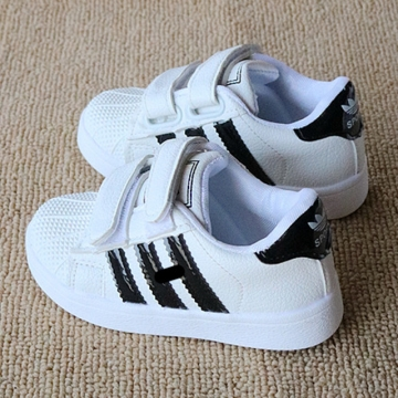 Fashion Adidas Leather Children Shoes Flat Heel Boy Sports Shoes Breathable Girl Casual Brand Shoes black 21