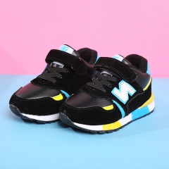 NewBalance Leather Children Shoes Flat Heel Boy Sports Shoes Breathable Girl Casual Brand Shoes black 22