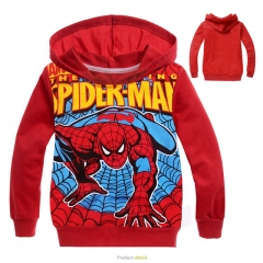 Fashion Cotton Long Sleeve Sweatshirts Zipper Coat Printed Kids Jackets Hooded Children's Clothing red 100cm
