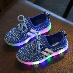 Fashion Brand Adidas LED Light Up Children Athletic Shoes Baby boys/girls Breathable Sport Shoes blue 32