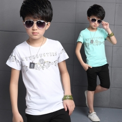 Fashion Summer 2016 Boys T-shirt Cotton Kids Baby Tops Short Sleeve Shirt Cartoon Children Clothing white 120