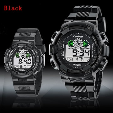 Children 's Watches Boys Girls waterproof Sports LED Electronic Digital Watch for Students Black Large