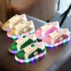 Fahison LED Light Up Children Shoes 1-3Y Led Colorful Flash Baby Girl Shoes Boy Led Sneakers red 26