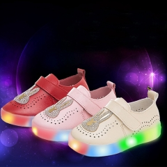 Fahison Breathable LED Light Up Children Shoes Soft-soled Flat  Baby Girl Shoes Boy Led Sneakers white 26