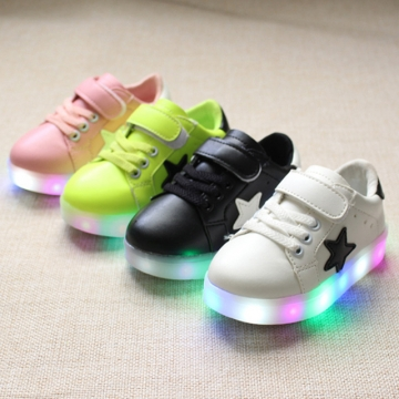 Fahison Breathable LED Light Up Children Shoes Soft-soled Flat  Girl Shoes Boy Anti-skid Sneakers white 22