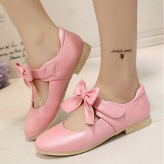 Fashion Girl Children's Shoes Lovely Bowknot Princess Shoes Low To Help Anti-skid Girl Dress Shoes pink 26