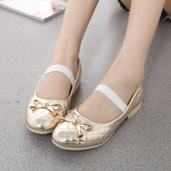 Cute Girl Children's Shoes Leather Lovely Bow Princess Shoes Low To Help Anti-skid Girl Dress Shoes gold 26