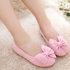Casual Cute Girl Children's Shoes Bowknot Princess Shoes Flat bottom Anti-skid Girl Dress Shoes pink 26