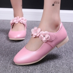 Fashion Girl Children's Shoes Lovely Flower Princess Shoes Low To Help Anti-skid Girl Dress Shoes pink 26
