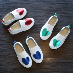Fashion PU Leather Children Shoes Flat Bottom Girl Casual Shoes Breathable Boy Brand Shoes red 26