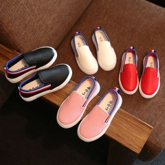 Fashion PU Leather Children Shoes Flat Bottom Girl Casual Shoes Breathable Boy Brand Shoes white 26