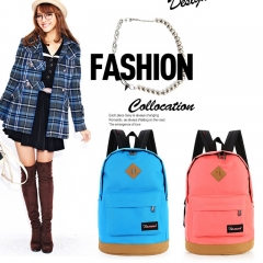 Fashion Spliced High Capacity Canvas Backpack Casual Lovers School Bag blue 32cm*20cm*42cm