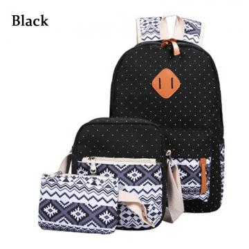 3pcs Ethnic Style Girl Geometric Dot Print Portable Handbag Tote School Backpack black one size